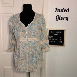 Faded Glory Bohemian Style Crochet Blouse Large